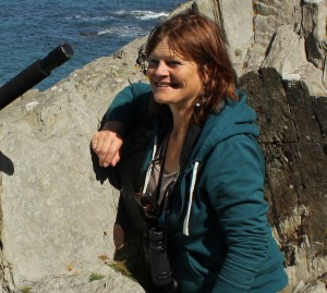 Jo & camera on location near Mortehoe sq