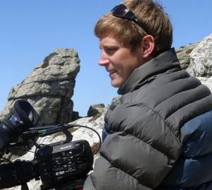 Simon & camera on location Lundy Islands sq