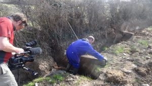Phil building the baffle ditches