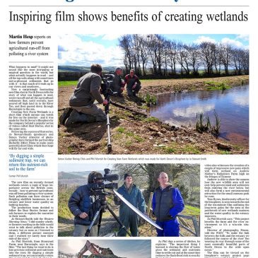 Creating New Farm Wetlands published in Western Morning News!